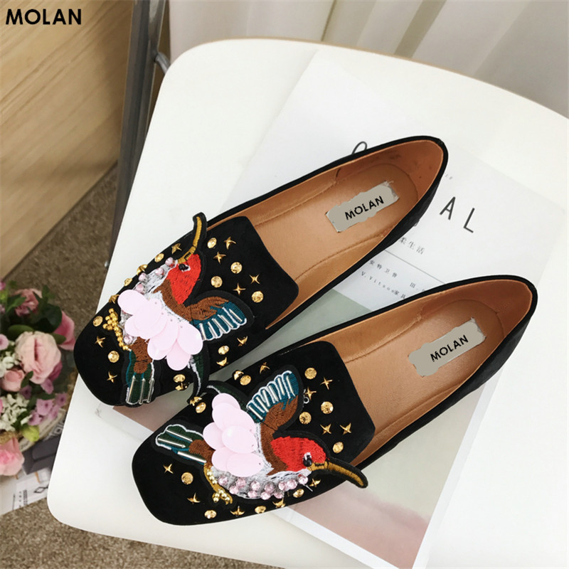 MOLAN BRAND 2018 Spring Fashion Color Crystal Embroider Bird Flat Shoes Woman Luxury Superstar Rivet String Bead Slip-on Loafers<br>
