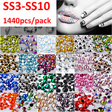 Mix Colors Nail Art Rhinestone 1440pcs ss3-ss10 Non HotFix 3D Glitter Crystals Decorations Clear AB Crystal Lt Siam Opal(China)