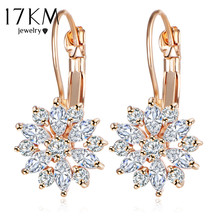 17KM Rose Gold Color Crystal Flower Stud Earrings for Women 2017 bijoux Vintage Love Wedding Earring Statement Brinco Bijouterie(China)