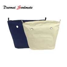 Classic Mini Size waterproof Solid Canvas Insert Inner Lining Insert Zipper Pocket for Obag O Bag handbag Silicone bag