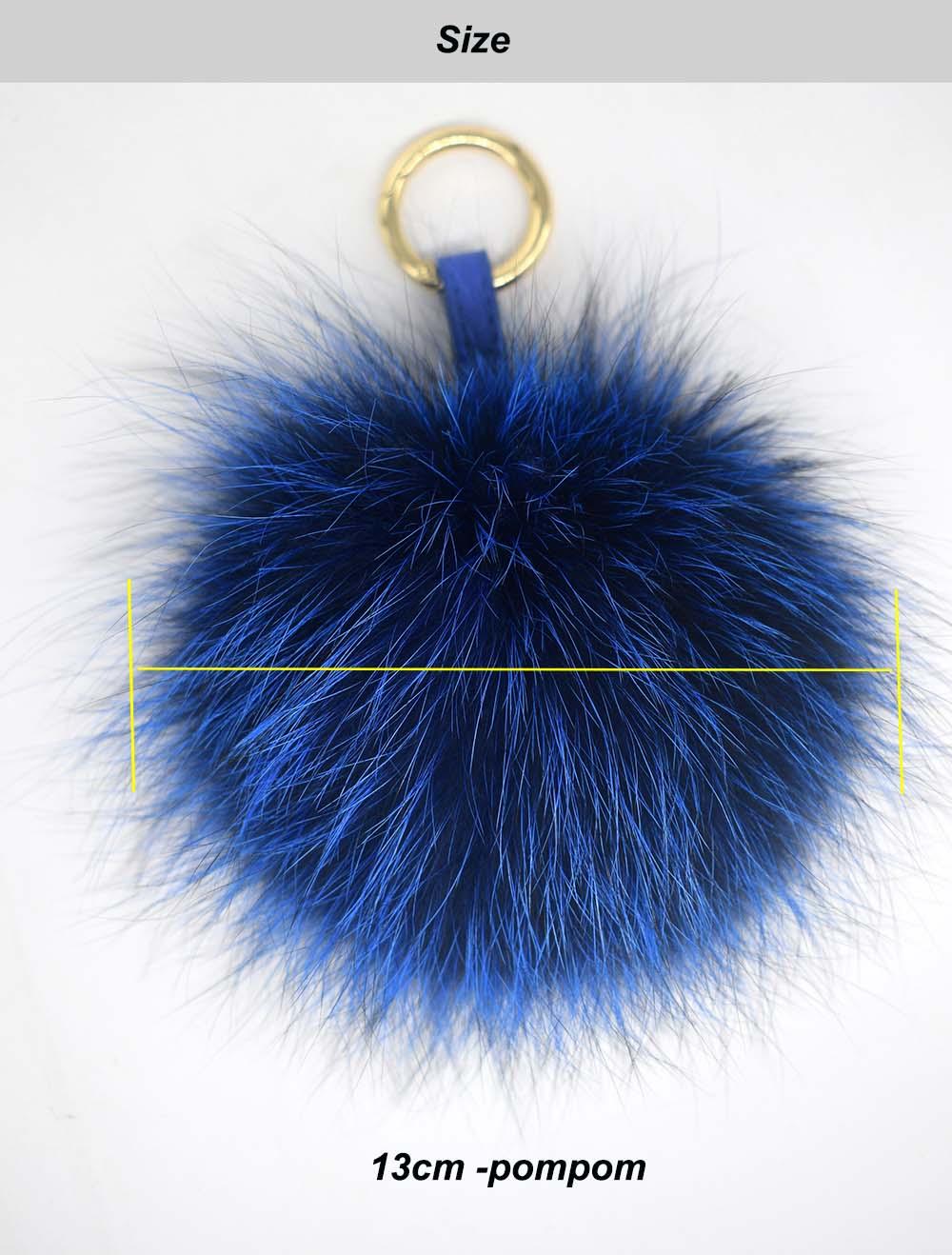 silver fox pompom keychain size