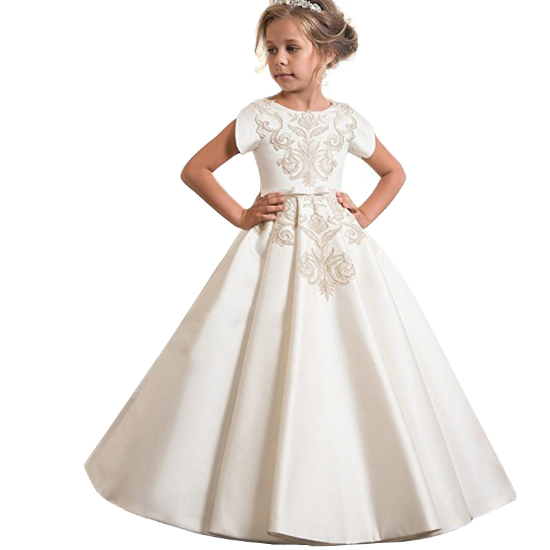 Winter Children Clothing 2018 Bridesmaid Girls Dress Wedding Dresses Girls Kids Embroidery Princess Dress Party 10 12 Years