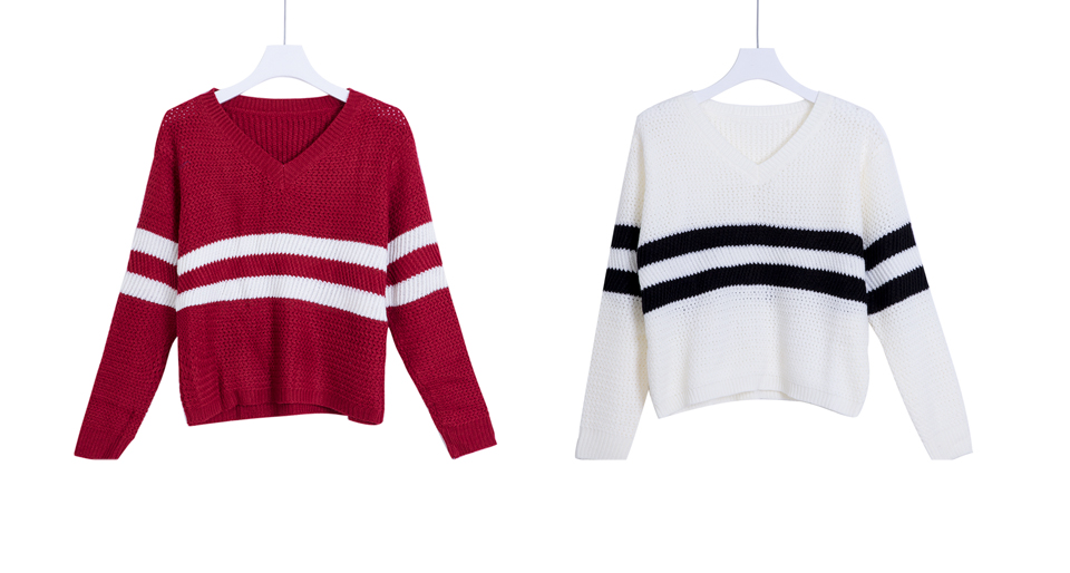 4 Colors!Spring Autumn Women Sweaters Pullovers V-neck Crop Tops Striped Long Sleeve Knitted Sweater Roupas Femininas T4N510 6