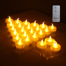 24Pcs Flameless LED Candle Tealight Decorative Candles Smokeless Wireless Remote Control for Hallowmas Xmas Party Wedding Home