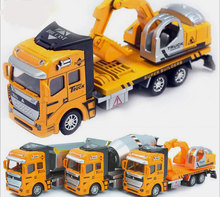 1:48 Pull Back Alloy Car Engineering Truck Model Excavators Cement Concrete Mixer Dumpers Diecasts Toy Vehicles for Boys