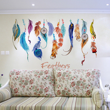 Removable Feather Wall Stickers Colorful Plumage Korean Dreamcatcher Decals For Living Room Kids Rooms Decoration(China)