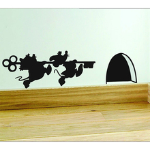 key Skirting Board vinyl sticker wall Dical mouse hole art(China)