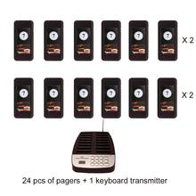 Wireless restaurant calling System 24 pcs of coaster pagers and 1 keyboard call button transmitter/ wireless queuing system(China)
