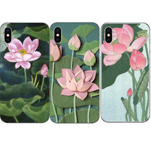 Phone Cases Summer Cool Cartoon lotus Floral Hard For Apple iphone X 10 fish Cover For iPhone 5 5S SE 6S Plus 7 7Plus 8 8Plus(China)