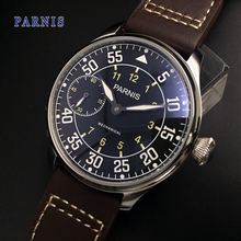 Fashion Mechanical Men Watch Parnis 44mm Hand Winding Men's Mechanical Watches Seagull 6497 Movement Brown Genuine Leather Top