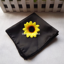 Wholesales Wedding 100 pieces Satin Napkin 30*30CM Black Square Handkerchief Handy Napkin Towel Satin Cloth Banquet SN-B100
