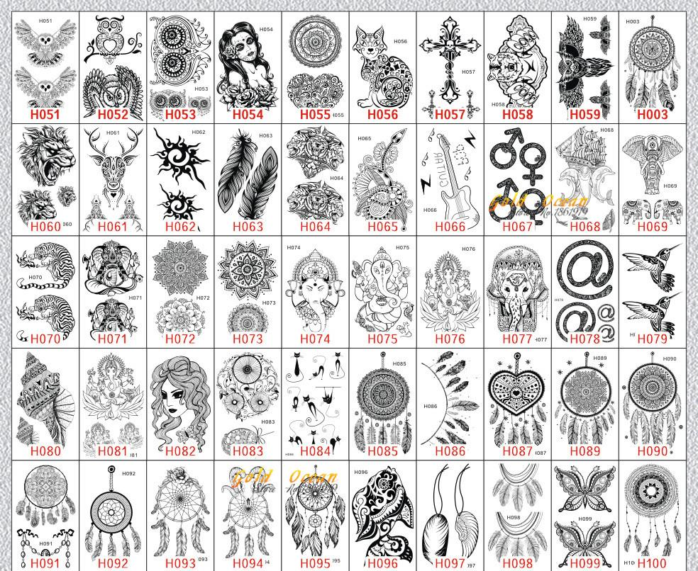 Waterproof Temporary Tattoo Sticker Women Flash Tattoo Mandala Design GH073 Black Henna Tattoo Body Arm Art Legs Indian Totem