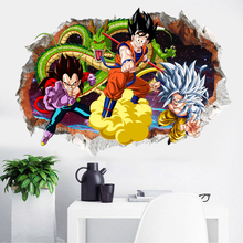 3D Dragon Ball Cartoon Wall Stickers Children Room Decorative Wall Sticker Removable Stickers Super Saiyan Waterproof PVC Paper