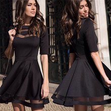 New Arrival 2017 Women Summer Black Sexy Party Dress Ladies Knee Length Elegant Casual Vintage Mesh Dresses