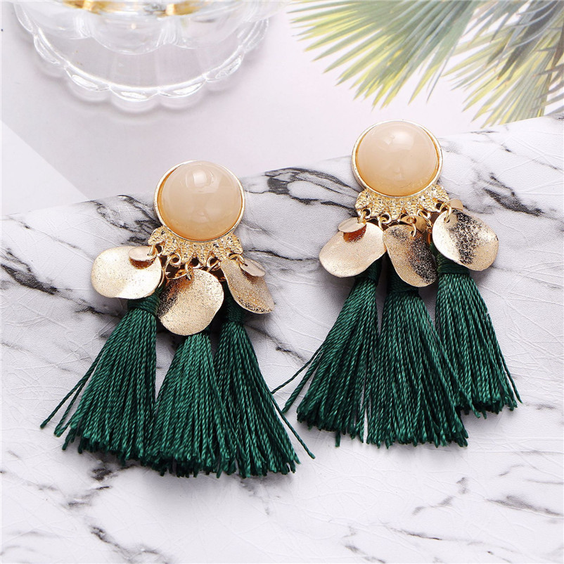 2018 Trendry Earrings for Women Bohemian Fashion Weave Tassel Earrings Long Drop Earrings Jewelry for gift Brincos J05#N (4)