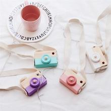 2017 Baby Kids Cute Wooden Toy Camera Neck Hanging Camera Photography Prop Decoration Children Playing House Decor Toys Gift(China)