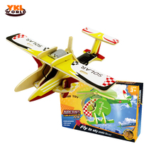 YKLWorld 2017 Wooden Solar Power 3D Aircraft Jigsaw Airplane Helicopter DIY Puzzle Building Block Educational Toy Child Gift -48