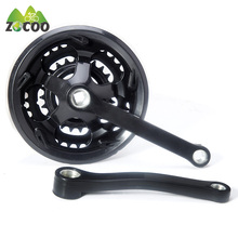 Zocoo bike crankset  alloy crank chain wheel square hole 24/34/42T with chain cover mountain bike 21, 24, 27 gear tooth disc