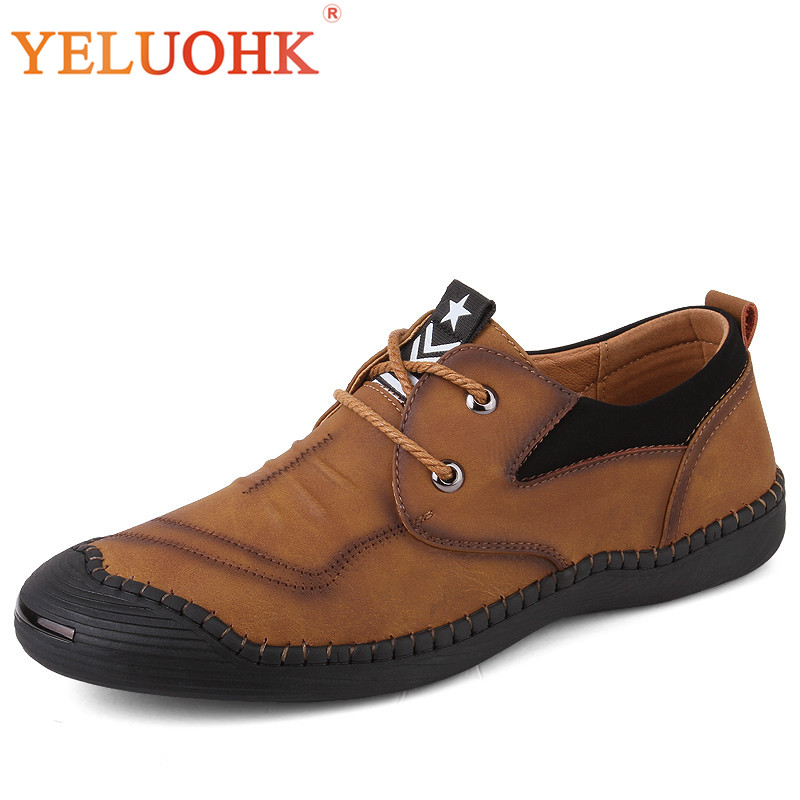 2018 Spring Men Leather Shoes Handmade Breathable Men Shoes Casual High Quality Leather Shoes Men<br>