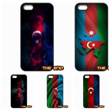 For iPhone 4 4S 5 5C SE 6 6S 7 Plus Galaxy J5 A5 A3 S5 S7 S6 Edge Retail AZ Azerbaijan Flag Hard Phone Black Skin Case Cover