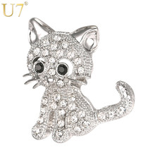 U7 Brand Cute Animal Little Cat Brooch For Women Gift Wholesale Silver/Gold Color Rhinestone Crystal Pin 2017 Hot Jewelry B119(China)