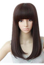 Medium Wig Fei-Show Synthetic Heat Resistant Wavy Black Dark Brown Hair Cartoon Role Cosplay Pelucas Party Salon Women Hairpiece