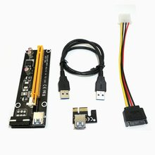 2017 NEW 60CM PCI Express PCI-E 1X to 16X Riser Card Extender PCIE Adapter + USB 3.0 Cable & 15Pin SATA to 4Pin IDE Power Cord