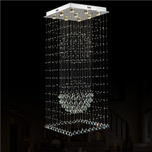 Modern square luxury villa hotel double entry stair creative personality k9 crystal chandeliers messenger wire LED lamps