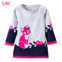 LZH Kids Dresses For Girls Fox Long Sleeve Dress Baby Girl Christmas Party Dress 2017 Autumn Winter Girls Dress Children Clothes