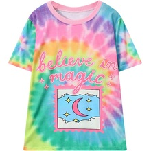 Women T-shirt 2017 Summer New Tie Dye Color Pattern Printed T shirt Female Kawaii Tee Top Casual Loose Clothing Harajuku Tshirt