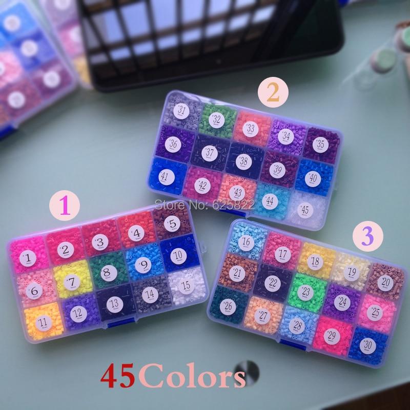 EVA 3mm Hama Beads 45 colors 22,500 Beads Set(1Big Pegboard+4 Iron Paper+2Tweezers) Fuse/Perler Hama Beads Diy Educational Toys<br>