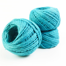 HEY FUNNY 25/50/100m 2 Rolls/lot Natural Tiffany blue hemp rope Gift box String Rope Floral Craft Wedding Tags Wrap Decor(China)