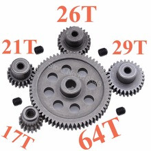 11184 Steel Metal Spur Diff Main Gear 64T Motor Pinion Gears 17T 21T 26T 29T 11189 11176 11181 11119 For RC HSP Redcat RC Truck(China)