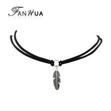 Velvet Choker Black Brown White Leather Choker Necklace Antique Silver Color Feather Shape Charm Multilayer Chain Necklace