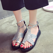 Buy Fashion Sandals Summer Wedges Women's Sandals Platform Belt Bling Stars Flip Flops open toe high-heeled Women shoes Female for $18.45 in AliExpress store