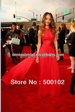 Real Image 55th Grammy Awards Rihanna Red Carpet Dresses A-Line Crisscross Halter Chapel Train Gowns