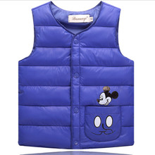 baby boys girls vest Children's Down Cotton Warm Vests Kid's Winter Sleeveless Top Outerwear mickey clothes for age 3-7year  B77