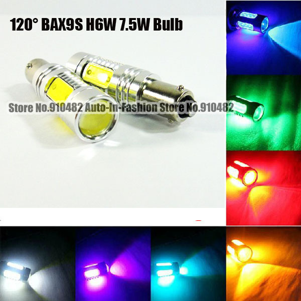 2pcs 7.5W H6W BAX9S 120 degree 64111 64113 64132 7.5W COB Chip LED Bulbs Parking Side Light white red blue yellow green pink<br><br>Aliexpress