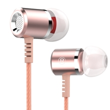 Rose Gold Original Earphones Head phones Metal MIC Microphone 3.5MM Stereo Bass Auriculares For iphone Samsung Xiaomi Earphone