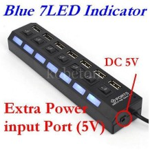 7 PORT USB 2.0 HUB High Speed Power Cable with LED Light Indicator ON/OFF Sharing Switch Adapter For PC Desktop Laptop