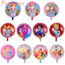 10pcs/lot 18inch round HAPPY BIRTHDAY princess balloons for girl' toy snow white Aluminium mylar balloons helium foil balloons