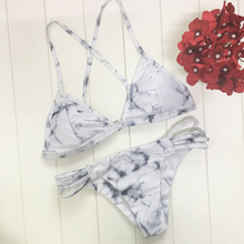2017 New Marbling Printed Swimwear Bikini Set Sexy Thong Low Waist Swimsuit Micro Straps Bathing suit Biquini Maillot De Bain