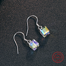 Cube Drop Earrings 925 Sterling Silver Square Crystal Dangle Earrings Statement Fashion Jewelry Factory Wholesale DE237