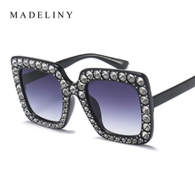 MADELINY 2017 Fashion Women Square Sunglasses Brand Designer Luxury rhinestone Sun Glasses High Quality Shades Oculos MA282(China)