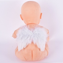 Baby White Feather Fairy Angel Wings Po/Pography Props Costume Party Decor 6-18 Months