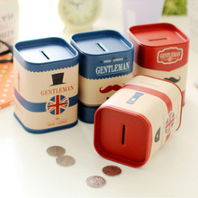 Personalise Square piggy bank Logbook Series Tin Plate box Money Saving Pot Coin Box Storage Tank Gift(China)