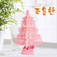 Christmas Tree Gifts 3D Laser Cut Pop Up Cards Handmade Decoration Greeting Card display Merry Christmas Party Supplies(China)