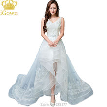iGown Vestidos Sexy Strapless Sleeveless Short Front Back Long Lace wedding Dress Bride Banquet Formal Party Gown