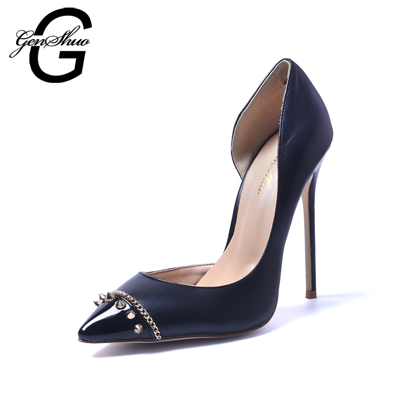 GENSHUO 2017 New Women Sexy Pointed Toe Dorsay Rivet Stud 12cm High Heel Shoes Fashionable Slip On Stilettos Pumps <br>