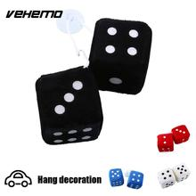 Vehemo Pair Blue Fuzzy Plush Dice White Dots Rear Mirror Hangers Vintage Car Auto Accessories Car Decoration car styling(China)